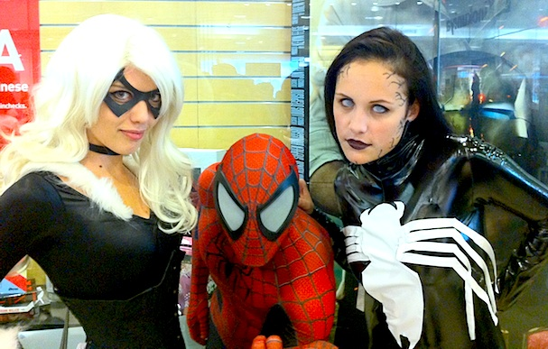 Free Comic Book Day 2013 - Cosplay at Kinokuniya, Sydney. Black Cat, Spider-man and Female Venom