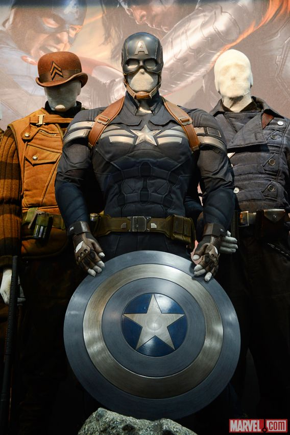 Captain America's original costume and shield on display at the Marvel Booth