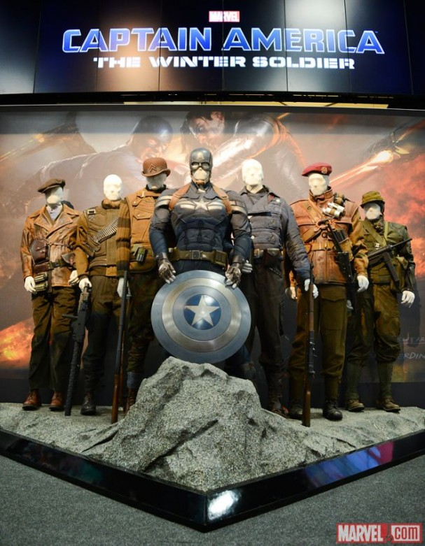 Captain America's original costume on display at the Marvel Booth
