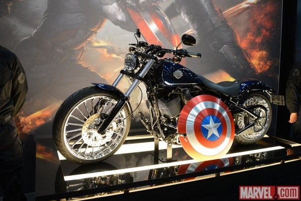 "Cap's Harley-Davidson from ""Captain America: The Winter Soldier"" on display at the Marvel Booth"