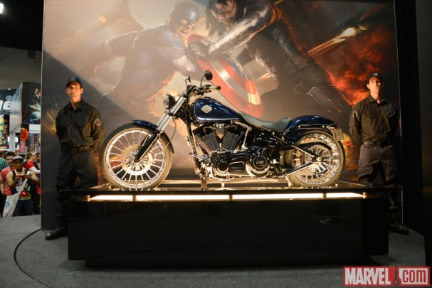 "Cap's Harley-Davidson from ""Captain America: The Winter Soldier"" on display at the Marvel BoothCap's Harley-Davidson from ""Captain America: The Winter Soldier"" on display at the Marvel Booth"