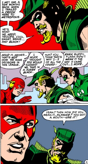 Justice League #173 - Flash and Green Arrow argue about Black Lightning