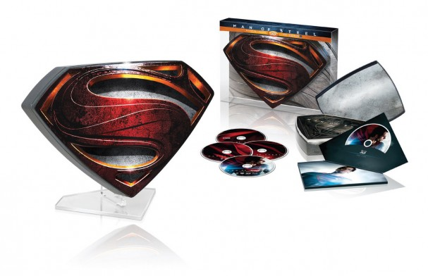 "Man of Steel Blu-ray - limited release metal ""S"" glyph with lucite glass stand"