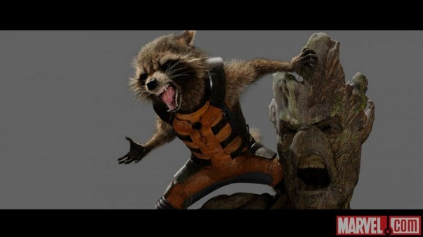 Guardians of the Galaxy concept art - Rocket Raccoon and Groot