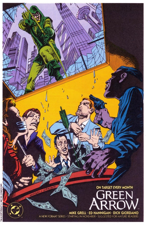 1987 house ad for Mike Grell's <i>Green Arrow</i> ongoing series