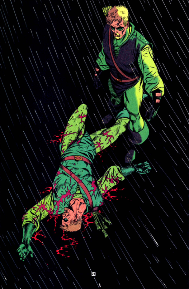 Ollie confronts hesitation in Green Arrow #90. Art by Eduardo Barreto.