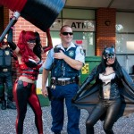 Supanova 2014 - Sydney cosplay - Harley Quinn, an actual cop and Batgirl