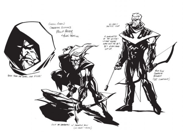 Green Arrow Quiver concept art - Phil Hester and Ande Parks