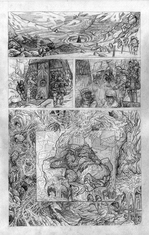 A pencilled page from Dread Empire (Gestalt Comics). Artist: Simon Kennedy