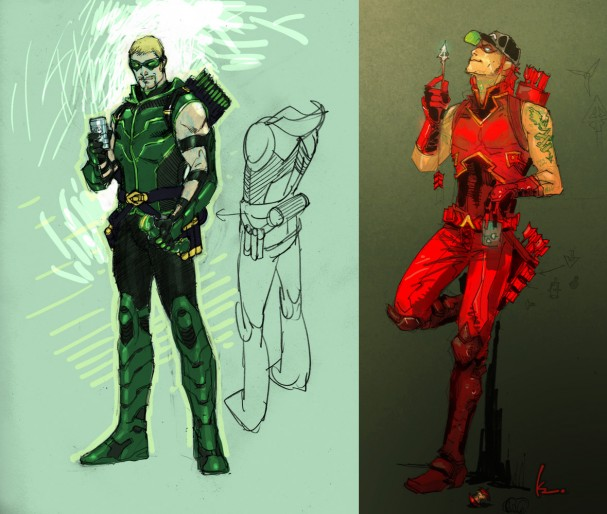Green Arrow and Arsenal concept art by Jim Lee