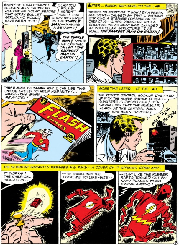 Showcase #4, featuring the Silver Age Flash. Art by Carmine Infantino.