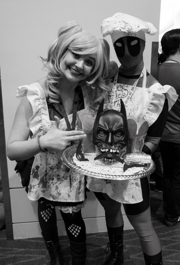 Emerald City Comic-Con (2015) cosplay - Harley Quinn, Deadpool and Batman's head on a plate. Photo by Richard Gray for Behind The Panels