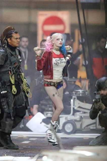 Margot Robbie as Harley Quinn on set of 'Suicide Squad'