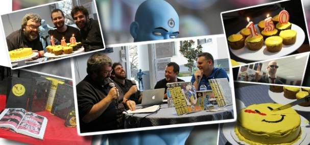 Behind the Panels Issue 150 - complete with Watchmen cake (L-R) David McVay, David Longo and Richard Gray